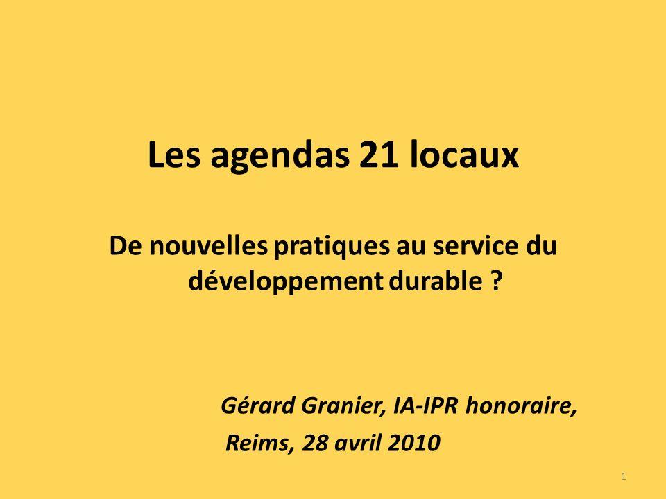 Les agendas 21 locaux De nouvelles pratiques au service du développement durable .