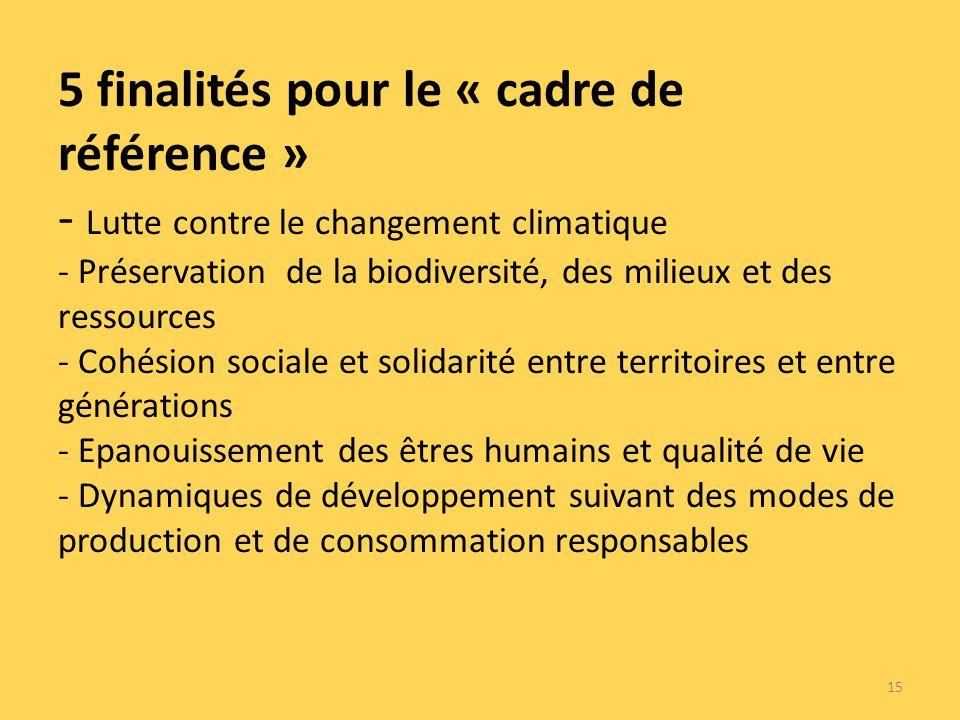 5 finalités pour le « cadre de référence » - Lutte contre le changement climatique - Préservation de la biodiversité, des milieux et des ressources - Cohésion sociale et solidarité entre territoires et entre générations - Epanouissement des êtres humains et qualité de vie - Dynamiques de développement suivant des modes de production et de consommation responsables 15