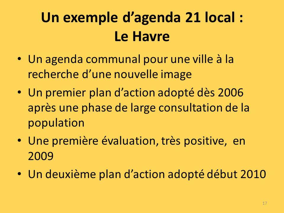 Un exemple dagenda 21 local : Le Havre Un agenda communal pour une ville à la recherche dune nouvelle image Un premier plan daction adopté dès 2006 après une phase de large consultation de la population Une première évaluation, très positive, en 2009 Un deuxième plan daction adopté début 2010 17