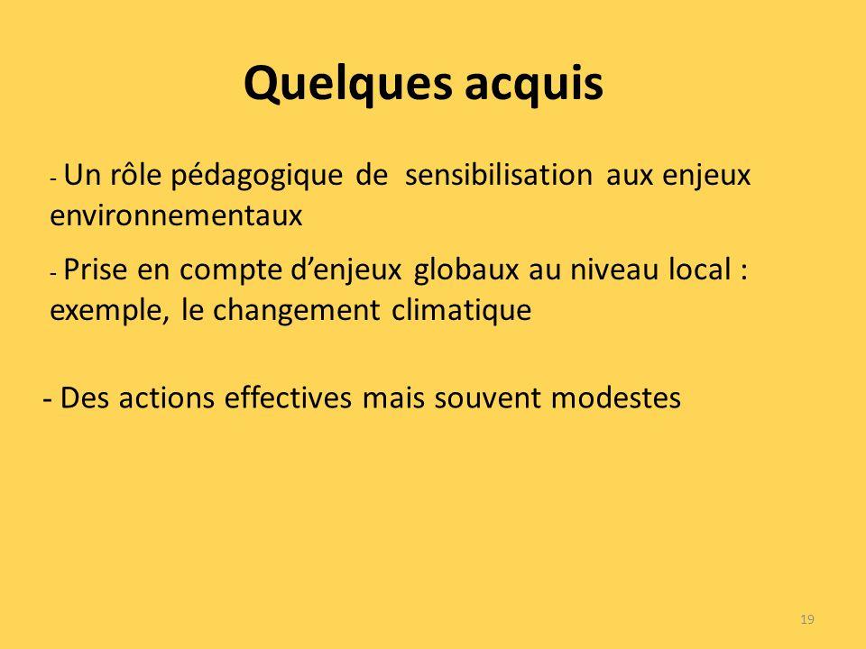 Quelques acquis 19 - Prise en compte denjeux globaux au niveau local : exemple, le changement climatique - Un rôle pédagogique de sensibilisation aux enjeux environnementaux - Des actions effectives mais souvent modestes
