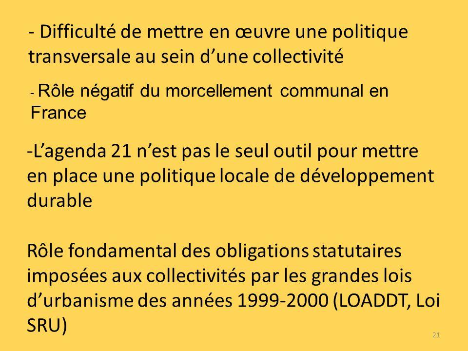- Difficulté de mettre en œuvre une politique transversale au sein dune collectivité -Lagenda 21 nest pas le seul outil pour mettre en place une politique locale de développement durable Rôle fondamental des obligations statutaires imposées aux collectivités par les grandes lois durbanisme des années 1999-2000 (LOADDT, Loi SRU) 21 - Rôle négatif du morcellement communal en France