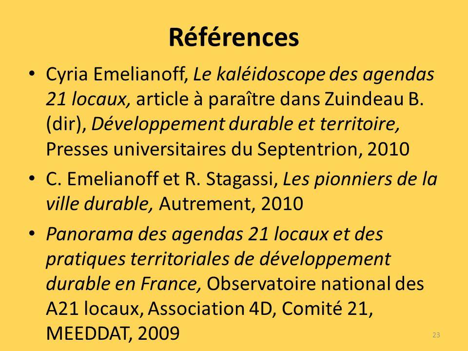 Références Cyria Emelianoff, Le kaléidoscope des agendas 21 locaux, article à paraître dans Zuindeau B.