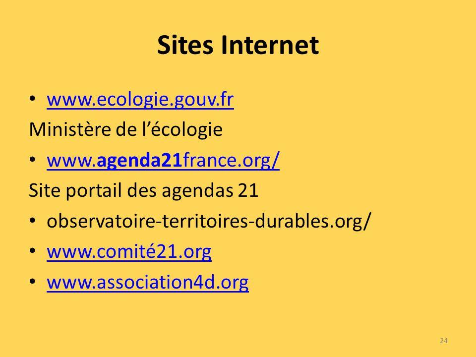 Sites Internet www.ecologie.gouv.fr Ministère de lécologie www.agenda21france.org/ www.agenda21france.org/ Site portail des agendas 21 observatoire-territoires-durables.org/ www.comité21.org www.association4d.org 24