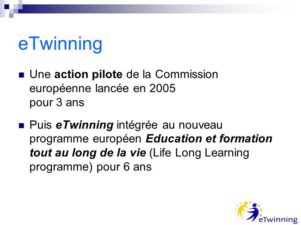 eTwinning Une action pilote de la Commission européenne lancée en 2005 pour 3 ans Puis eTwinning intégrée au nouveau programme européen Education et f