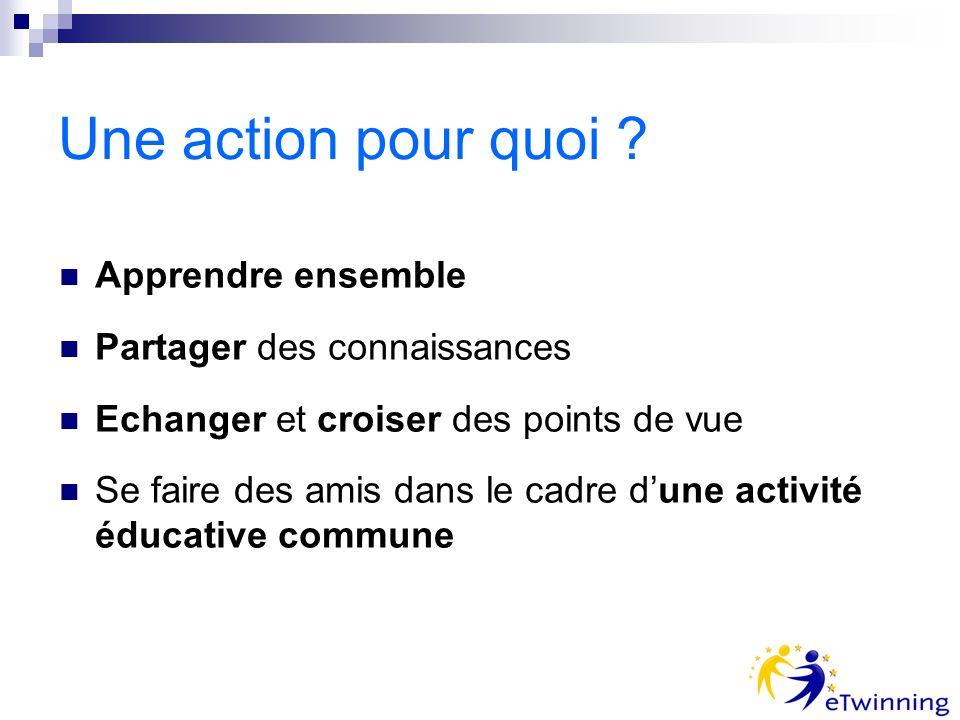 Une action pour quoi ? Apprendre ensemble Partager des connaissances Echanger et croiser des points de vue Se faire des amis dans le cadre dune activi