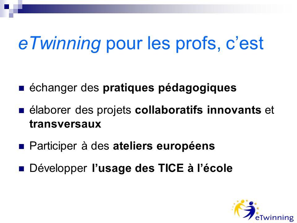 eTwinning pour les profs, cest échanger des pratiques pédagogiques élaborer des projets collaboratifs innovants et transversaux Participer à des ateli