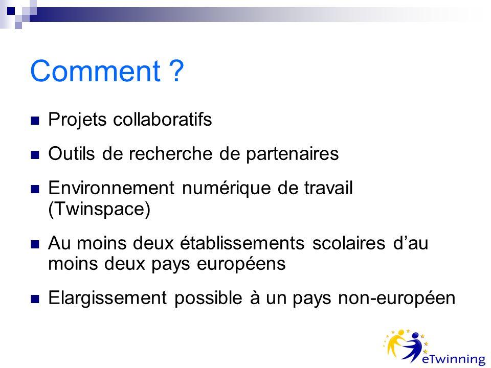 Comment ? Projets collaboratifs Outils de recherche de partenaires Environnement numérique de travail (Twinspace) Au moins deux établissements scolair