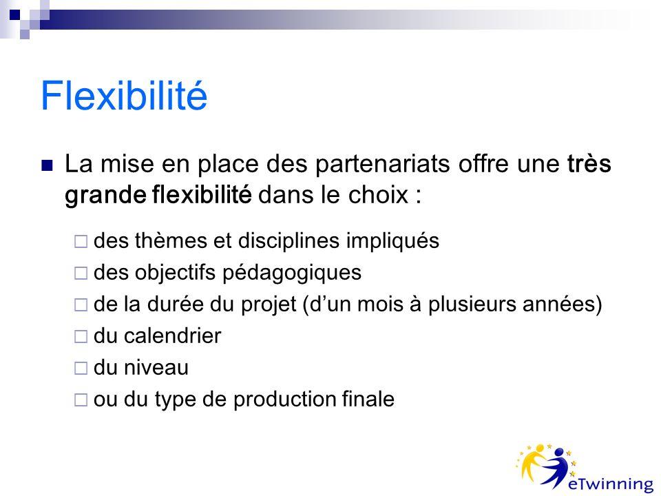 Flexibilité La mise en place des partenariats offre une très grande flexibilité dans le choix : des thèmes et disciplines impliqués des objectifs pédagogiques de la durée du projet (dun mois à plusieurs années) du calendrier du niveau ou du type de production finale