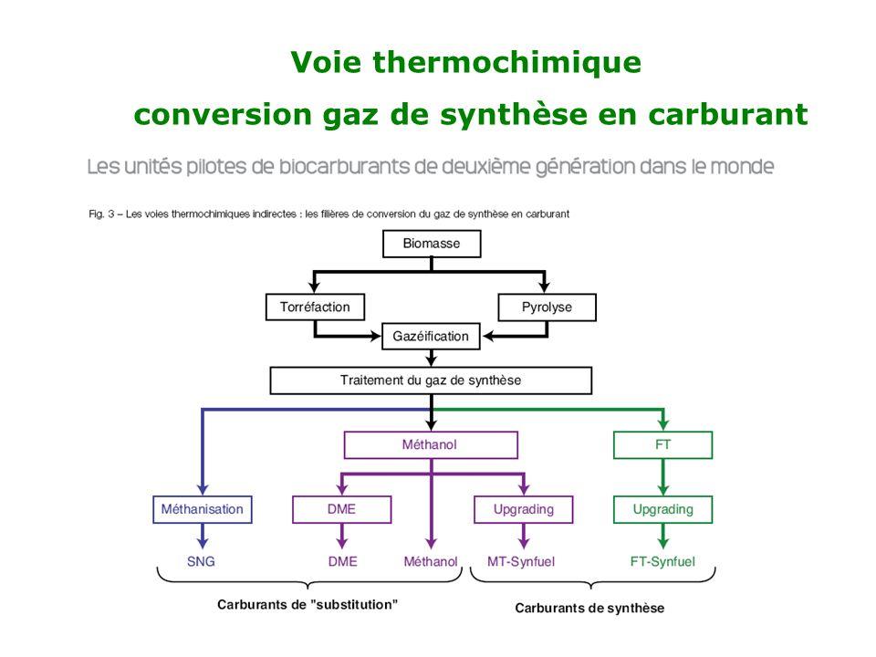 Voie thermochimique conversion gaz de synthèse en carburant