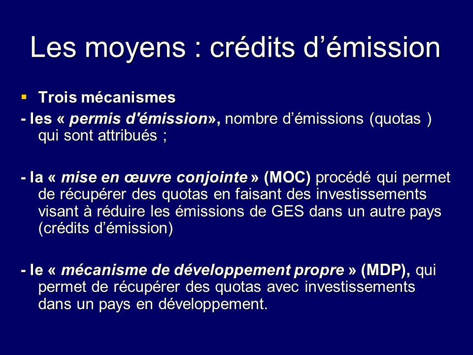 Les moyens : crédits démission Trois mécanismes Trois mécanismes - les « permis d'émission», nombre démissions (quotas ) qui sont attribués ; - la « m