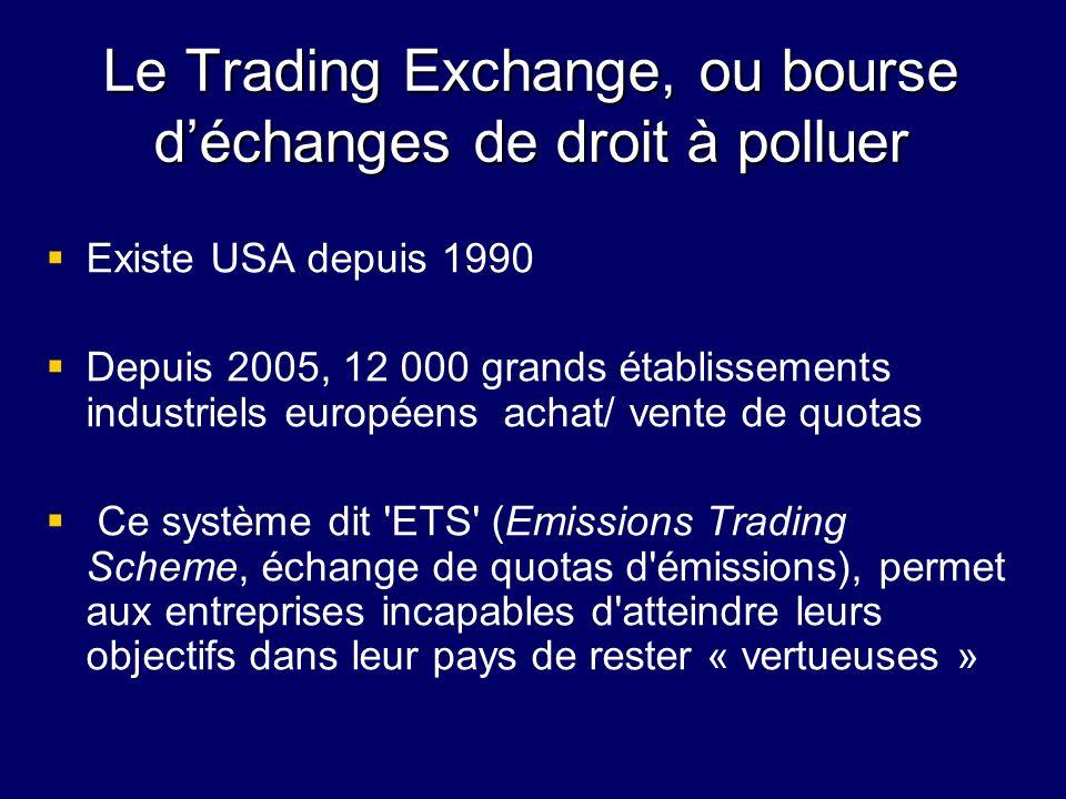 Le Trading Exchange, ou bourse déchanges de droit à polluer Existe USA depuis 1990 Depuis 2005, 12 000 grands établissements industriels européens ach