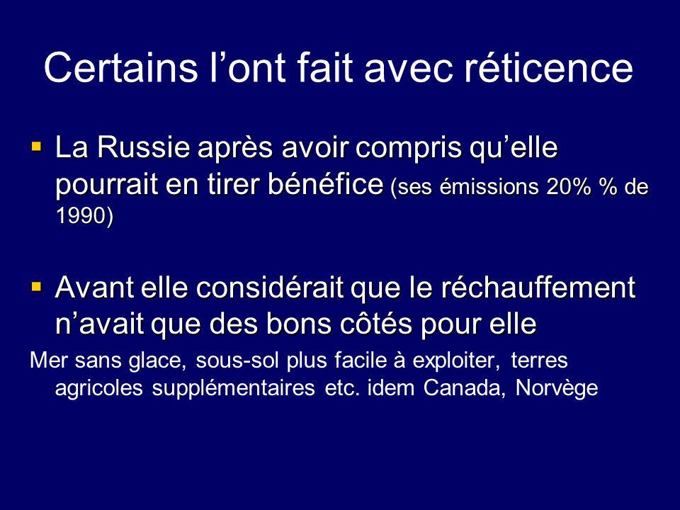 Certains lont fait avec réticence La Russie après avoir compris quelle pourrait en tirer bénéfice (ses émissions 20% % de 1990) La Russie après avoir