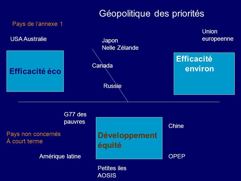 Géopolitique des priorités Efficacité éco Efficacité environ Développement équité Pays non concernés À court terme Pays de lannexe 1 Chine OPEP Petite