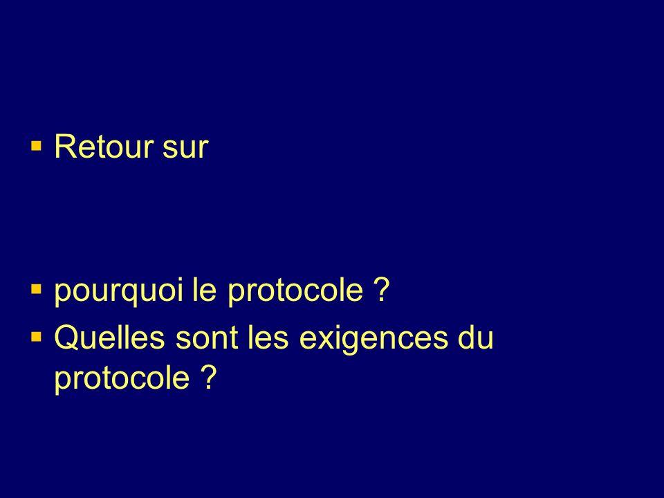 Retour sur pourquoi le protocole ? Quelles sont les exigences du protocole ?