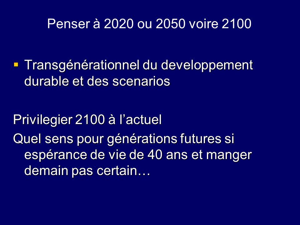 Penser à 2020 ou 2050 voire 2100 Transgénérationnel du developpement durable et des scenarios Transgénérationnel du developpement durable et des scena