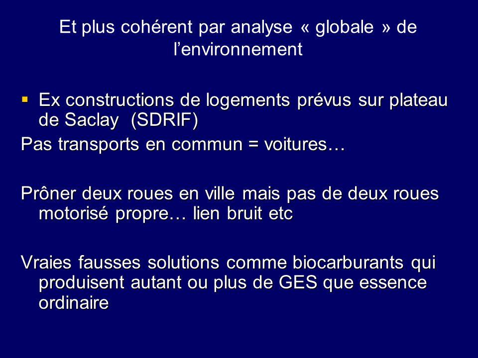 Et plus cohérent par analyse « globale » de lenvironnement Ex constructions de logements prévus sur plateau de Saclay (SDRIF) Ex constructions de loge