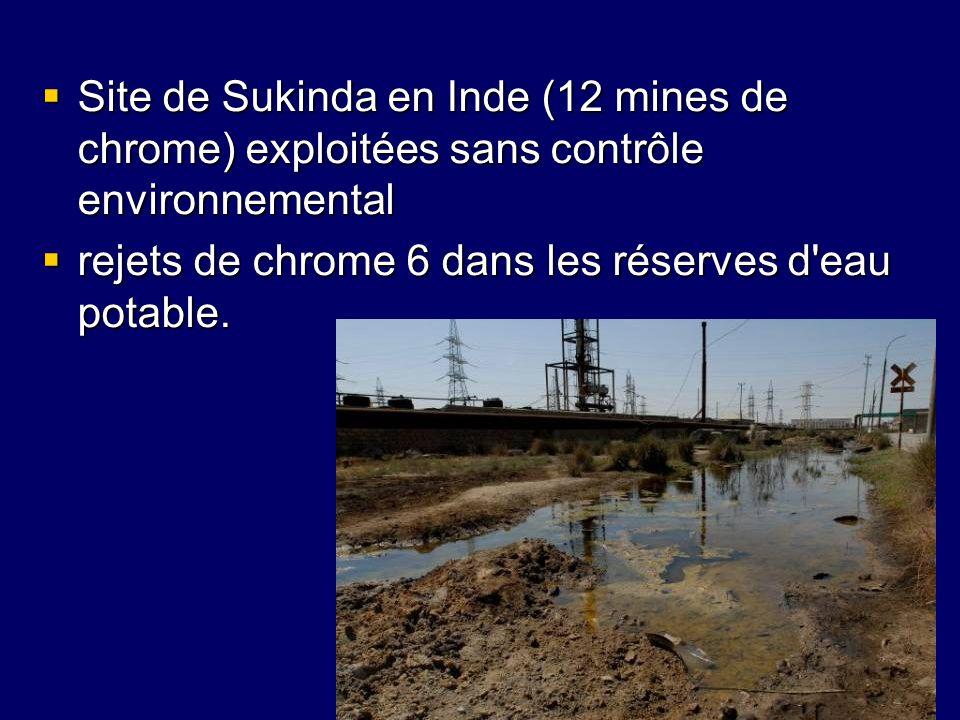 Site de Sukinda en Inde (12 mines de chrome) exploitées sans contrôle environnemental Site de Sukinda en Inde (12 mines de chrome) exploitées sans con