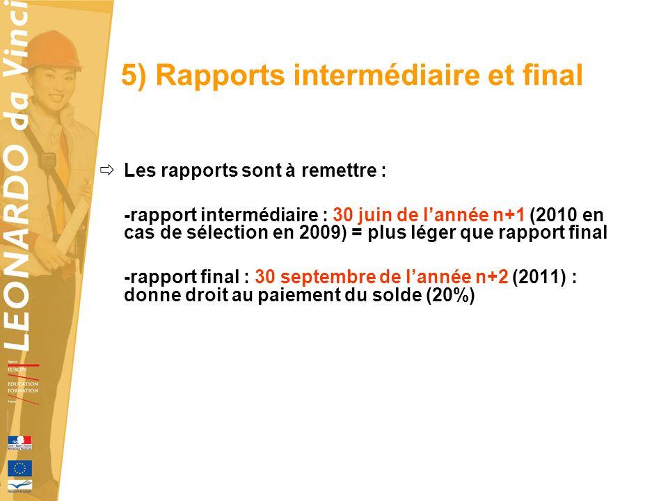 5) Rapports intermédiaire et final Les rapports sont à remettre : -rapport intermédiaire : 30 juin de lannée n+1 (2010 en cas de sélection en 2009) = plus léger que rapport final -rapport final : 30 septembre de lannée n+2 (2011) : donne droit au paiement du solde (20%)