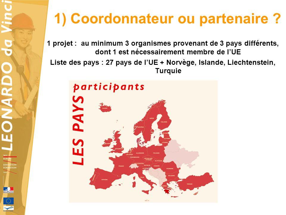 1 projet : au minimum 3 organismes provenant de 3 pays différents, dont 1 est nécessairement membre de lUE Liste des pays : 27 pays de lUE + Norvège, Islande, Liechtenstein, Turquie 1) Coordonnateur ou partenaire
