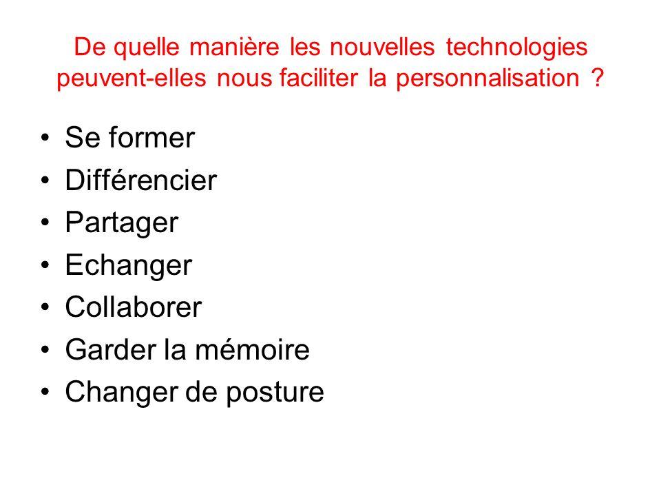De quelle manière les nouvelles technologies peuvent-elles nous faciliter la personnalisation ? Se former Différencier Partager Echanger Collaborer Ga