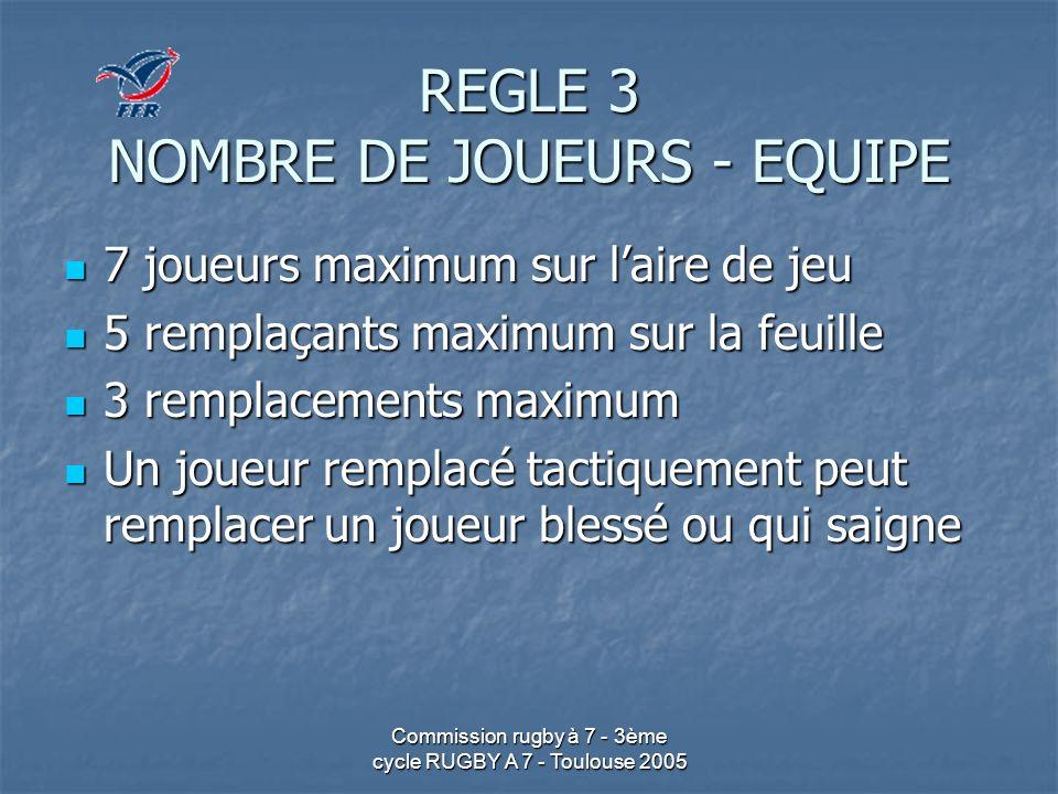 Commission rugby à 7 - 3ème cycle RUGBY A 7 - Toulouse 2005 REGLE 5 DUREE DE LA PARTIE 14 minutes maximum (+ temps additionnel et prolongations) 14 minutes maximum (+ temps additionnel et prolongations) 2 mi-temps de 7 2 mi-temps de 7 20 minutes en finale 20 minutes en finale 2 mi-temps de 10 2 mi-temps de 10 Mi-temps de 1, en finale 2 Mi-temps de 1, en finale 2 Prolongation par périodes de 5 (arrêt au premier point) Prolongation par périodes de 5 (arrêt au premier point)