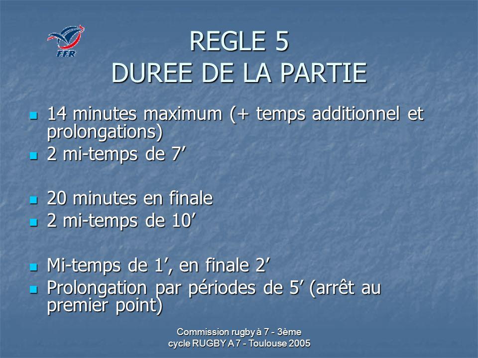 Commission rugby à 7 - 3ème cycle RUGBY A 7 - Toulouse 2005 REGLE 5 DUREE DE LA PARTIE 14 minutes maximum (+ temps additionnel et prolongations) 14 mi