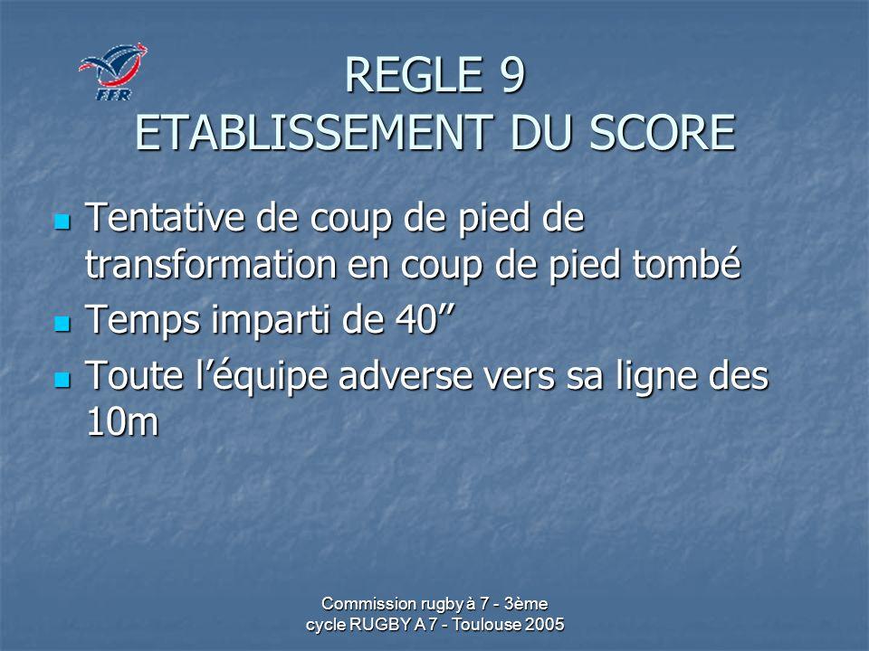 Commission rugby à 7 - 3ème cycle RUGBY A 7 - Toulouse 2005 REGLE 9 ETABLISSEMENT DU SCORE Tentative de coup de pied de transformation en coup de pied
