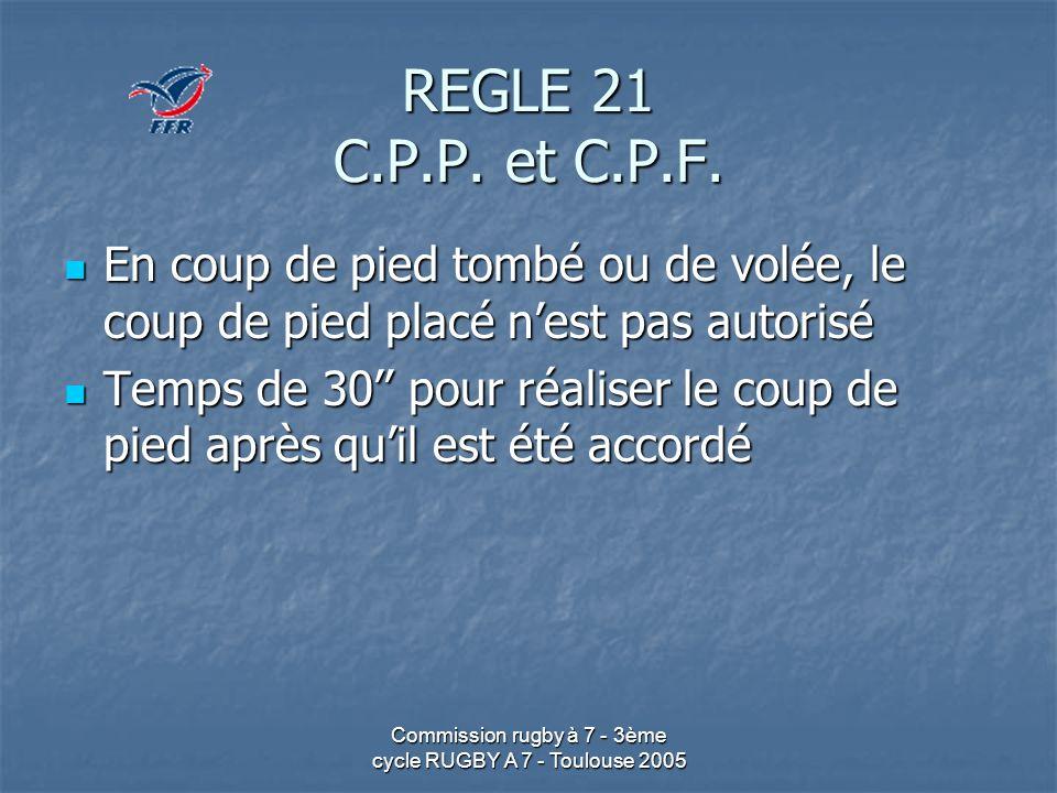 Commission rugby à 7 - 3ème cycle RUGBY A 7 - Toulouse 2005 REGLE 21 C.P.P. et C.P.F. En coup de pied tombé ou de volée, le coup de pied placé nest pa