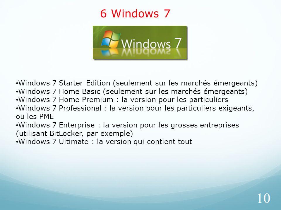 6 Windows 7 10 Windows 7 Starter Edition (seulement sur les marchés émergeants) Windows 7 Home Basic (seulement sur les marchés émergeants) Windows 7