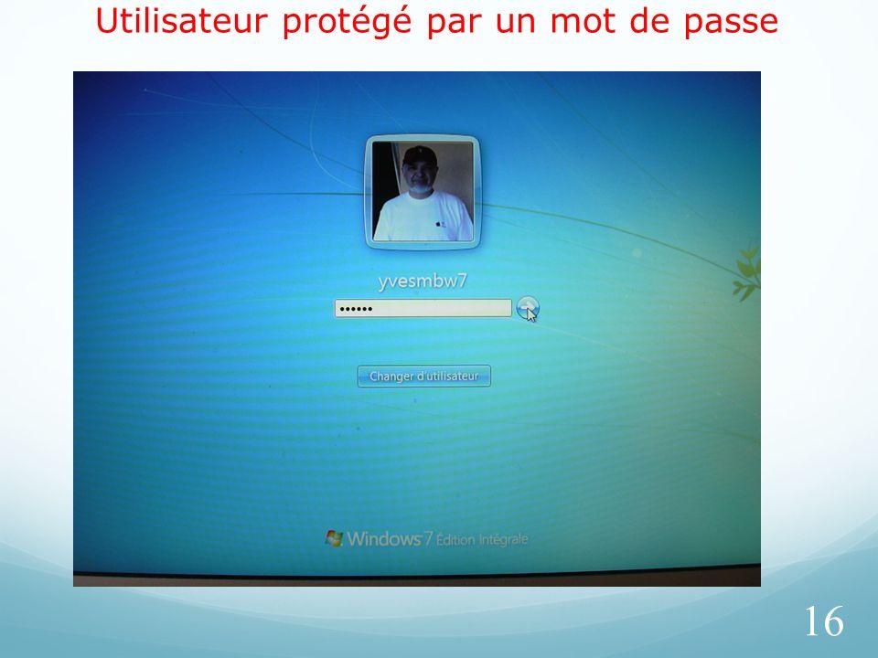 Utilisateur protégé par un mot de passe 16