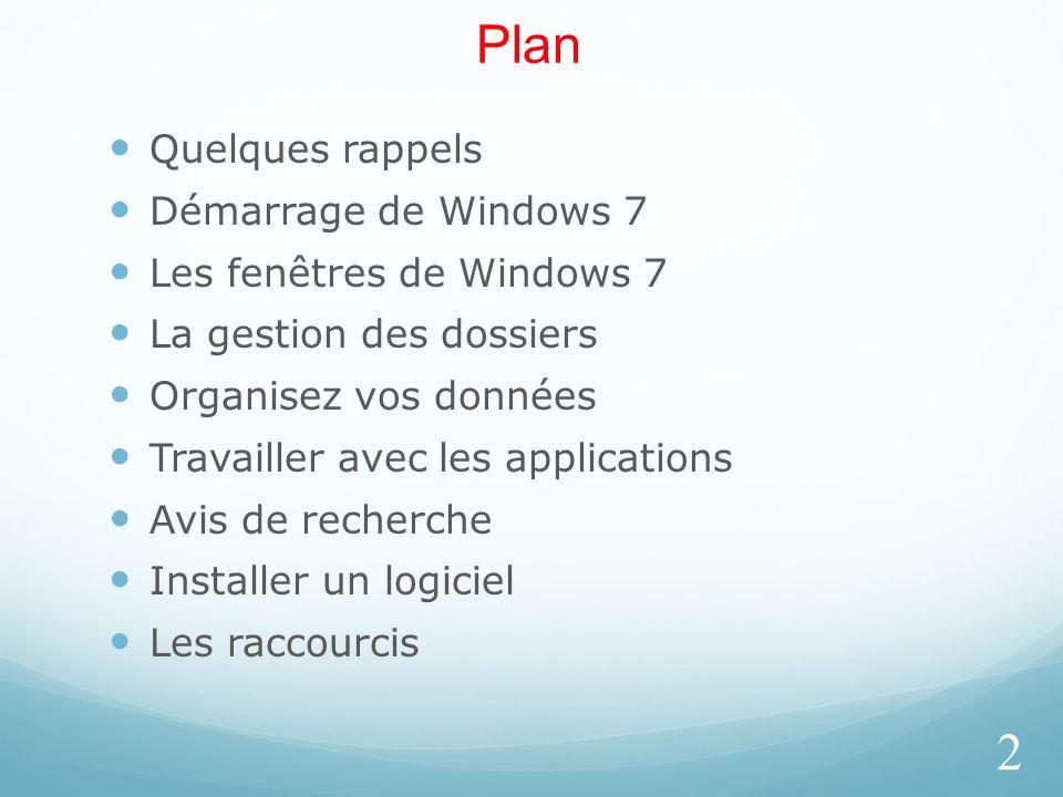 Plan Quelques rappels Démarrage de Windows 7 Les fenêtres de Windows 7 La gestion des dossiers Organisez vos données Travailler avec les applications