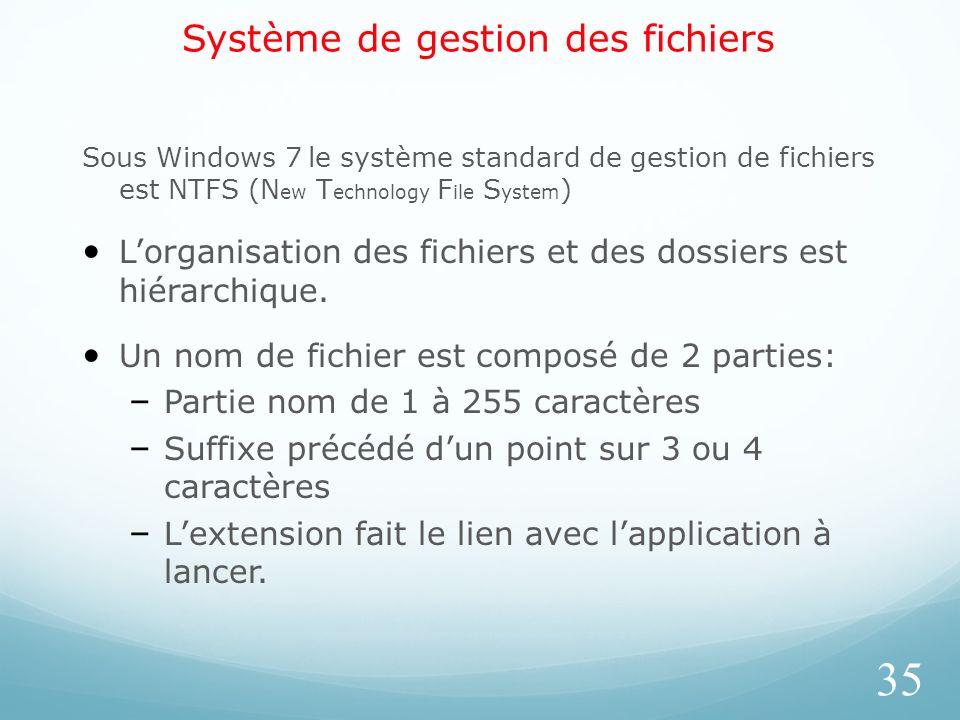 Système de gestion des fichiers Sous Windows 7 le système standard de gestion de fichiers est NTFS (N ew T echnology F ile S ystem ) Lorganisation des