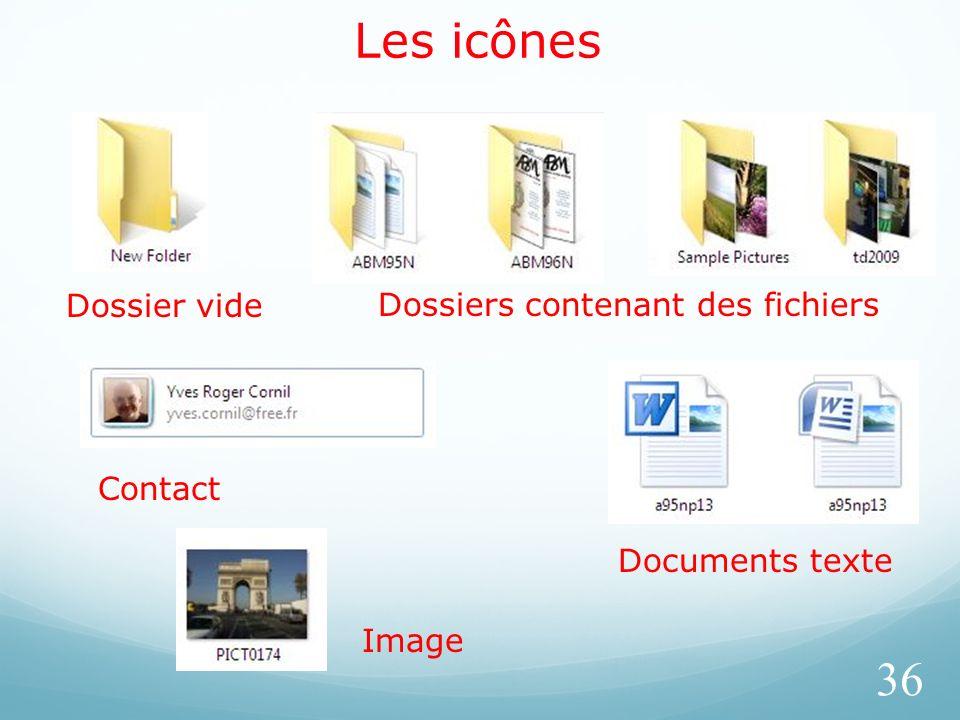 Les icônes 36 Dossier videDossiers contenant des fichiers Contact Documents texte Image