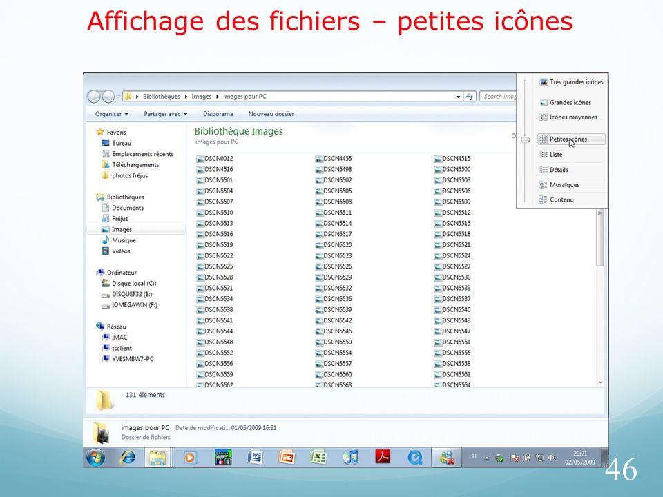 Affichage des fichiers – petites icônes 46