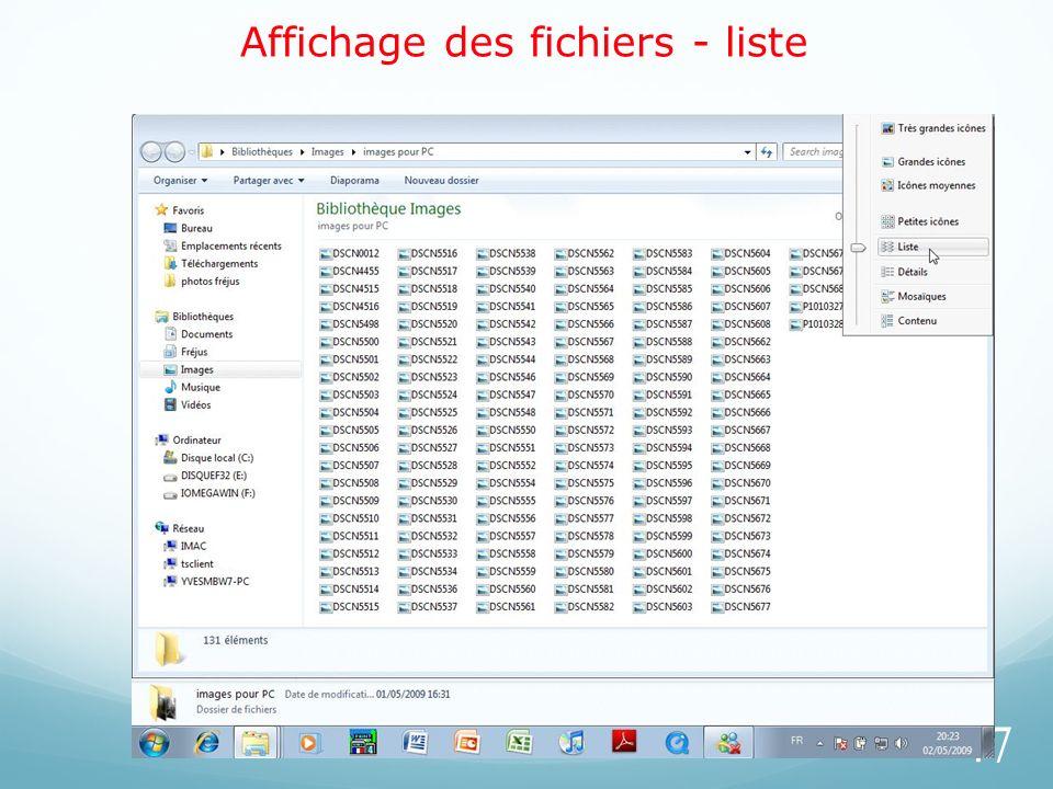 Affichage des fichiers - liste 47