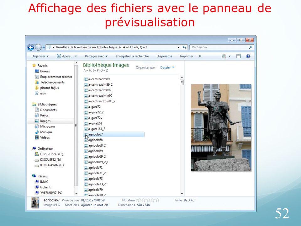 Affichage des fichiers avec le panneau de prévisualisation 52