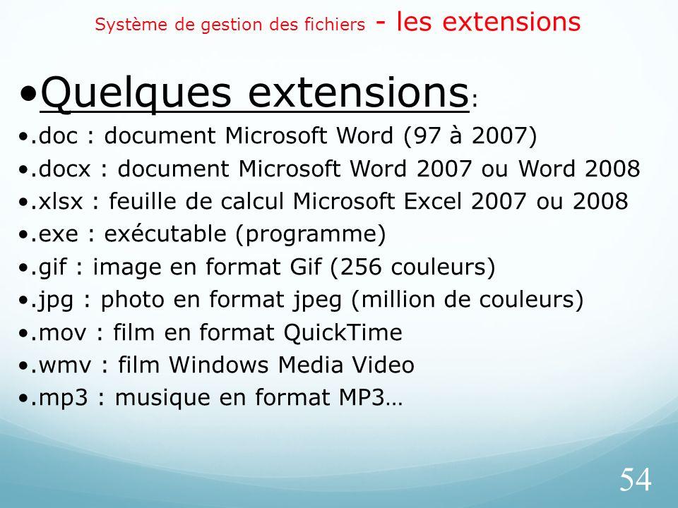 Système de gestion des fichiers - les extensions 54 Quelques extensions :.doc : document Microsoft Word (97 à 2007).docx : document Microsoft Word 200