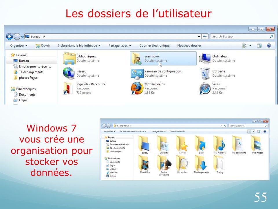 Les dossiers de lutilisateur 55 Windows 7 vous crée une organisation pour stocker vos données.