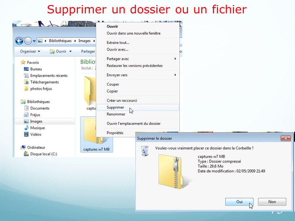 Supprimer un dossier ou un fichier 73