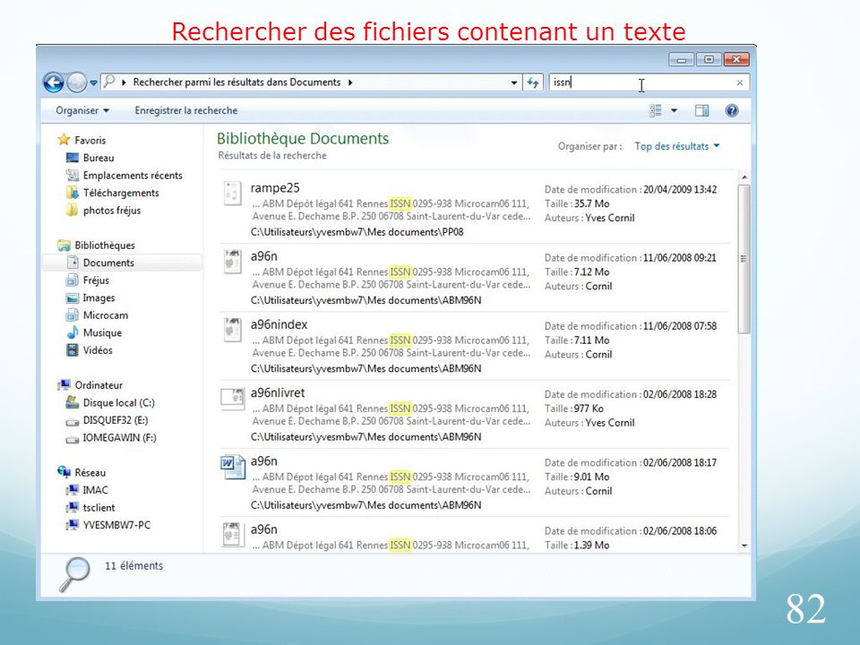 Rechercher des fichiers contenant un texte 82