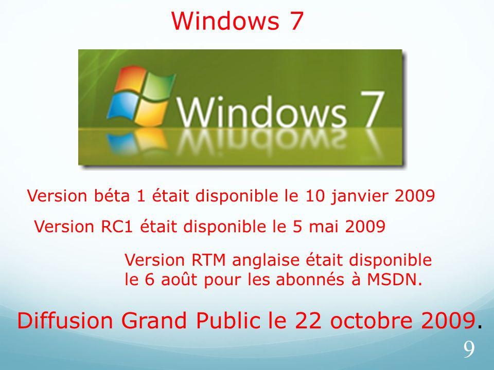Windows 7 9 Version béta 1 était disponible le 10 janvier 2009 Version RC1 était disponible le 5 mai 2009 Version RTM anglaise était disponible le 6 a