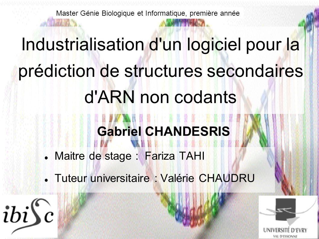 Industrialisation d'un logiciel pour la prédiction de structures secondaires d'ARN non codants Maitre de stage : Fariza TAHI Tuteur universitaire : Va
