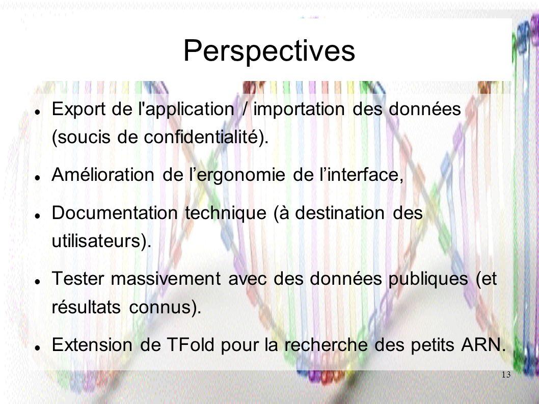 13 Perspectives Export de l'application / importation des données (soucis de confidentialité). Amélioration de lergonomie de linterface, Documentation