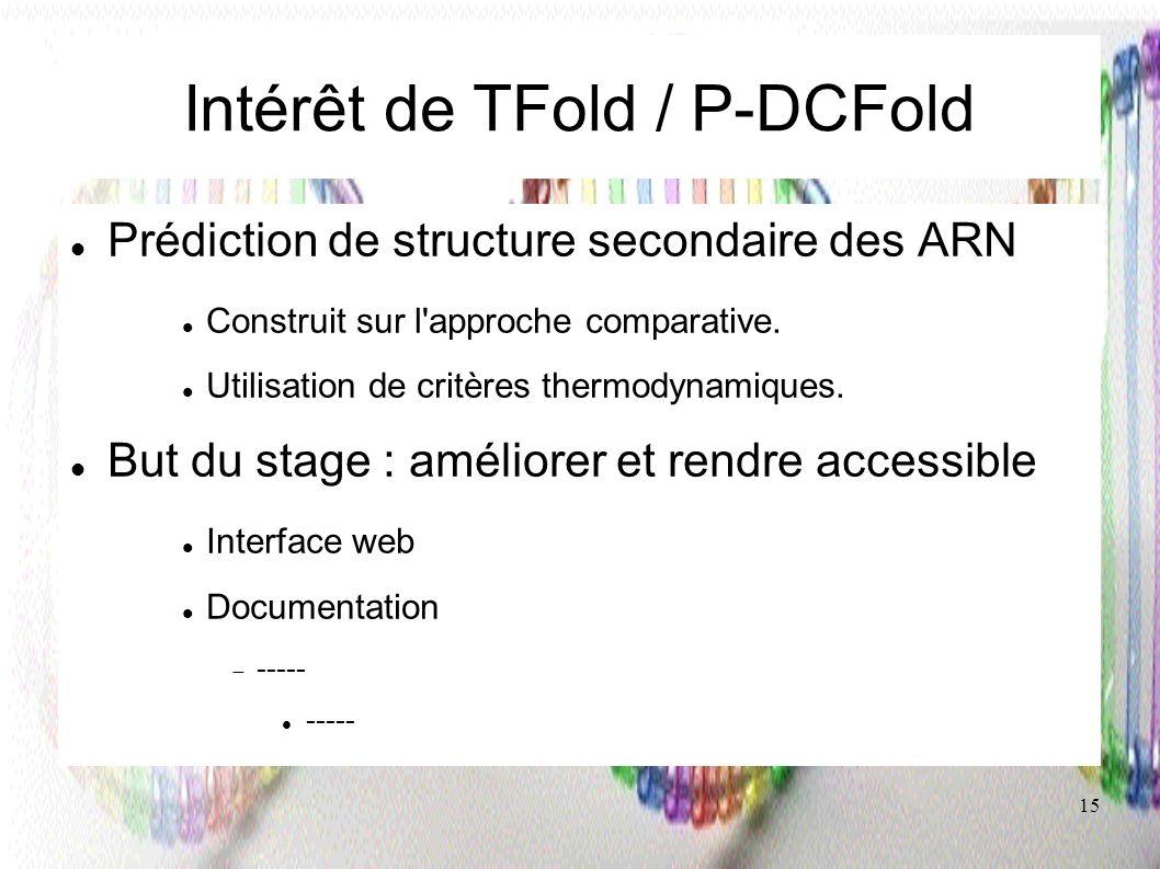15 Intérêt de TFold / P-DCFold Prédiction de structure secondaire des ARN Construit sur l'approche comparative. Utilisation de critères thermodynamiqu