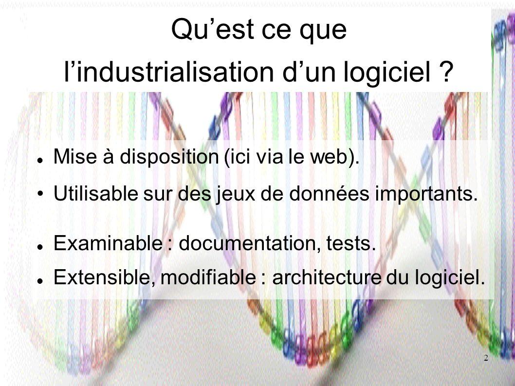 2 Quest ce que lindustrialisation dun logiciel ? Mise à disposition (ici via le web). Utilisable sur des jeux de données importants. Examinable : docu