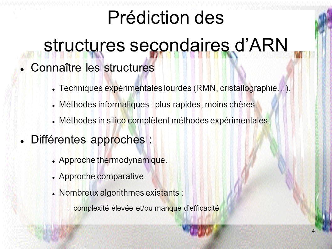 4 Prédiction des structures secondaires dARN Connaître les structures Techniques expérimentales lourdes (RMN, cristallographie…). Méthodes informatiqu