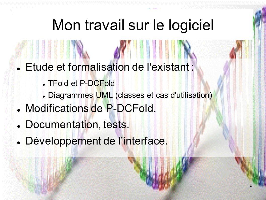 6 Mon travail sur le logiciel Etude et formalisation de l'existant : TFold et P-DCFold Diagrammes UML (classes et cas d'utilisation) Modifications de