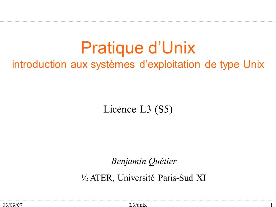 03/09/07L3/unix82 Make : un exemple # This is an example Makefile.