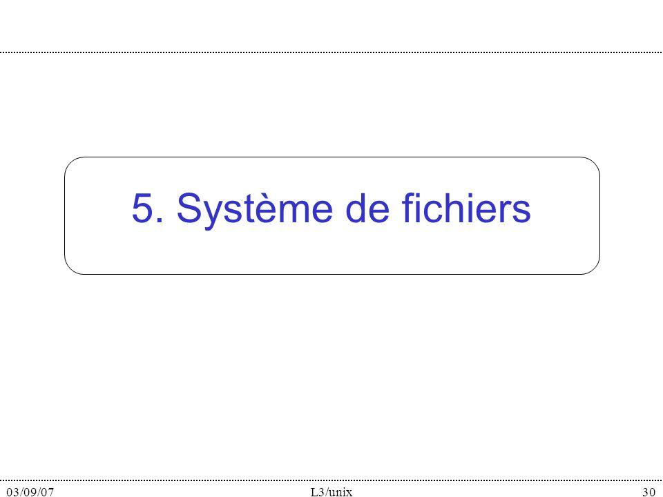03/09/07L3/unix30 5. Système de fichiers