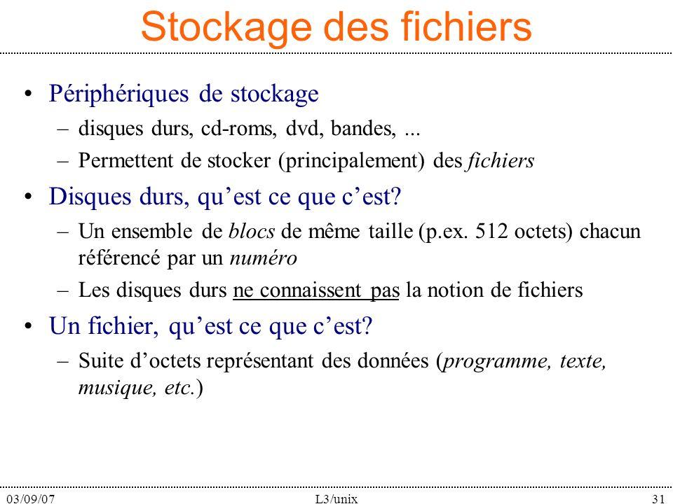 03/09/07L3/unix31 Stockage des fichiers Périphériques de stockage –disques durs, cd-roms, dvd, bandes,... –Permettent de stocker (principalement) des